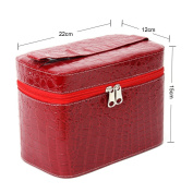 Yesurprise Portable Red Snake Skin Cosmetic Makeup Beauty Case Purse Toiletry Bag Gift