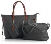 Big Handbag Shop Three in One Large Tote Shopper Shoulder Handbag with Medium Long Strap and a Make up Bag