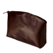 Maxwell Scott Luxury Brown Leather Cosmetic Bag