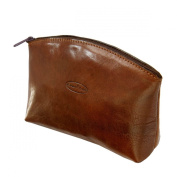 Maxwell Scott Luxury Tan Leather Travel Make Up Bag