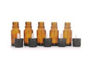 Pack of 5 x 10ml Amber Glass Aromatherapy Bottle with Tamper Evident Black Cap