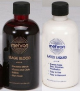 Mehron Professional Liquid Latex and Stage Blood Set - 270ml