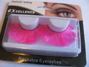 NEON bright pink feather drag false eyelashes with glue