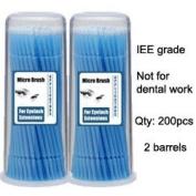 Micro Brush Swab Applicators in Barrel Cases / 2 two barrels x 100 is 200 brushes total / Regular type Disposable Microbrush Microswab/ Eyelash Extensions / Individual Eyelash Extensions / Semi Permanent Eyelash Extensions / Fake Eyelashes ..