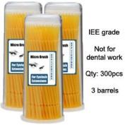 Micro Brush Swab Applicators in Barrel Cases / 3 three barrels x 100 is 300 brushes total / Fine type Disposable Microbrush Microswab/ Eyelash Extensions / Individual Eyelash Extensions / Semi Permanent Eyelash Extensions / Fake Eyelashes ..