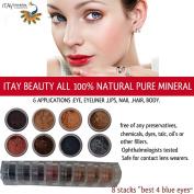 """Best 4 Blue Eyes"" 8 Stacks EyeShadow Eye Shimmer By ITAY Beauty Cosmetics Mineral"