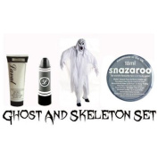 Halloween Ghost And Skeleton Make-Up Set - White Foundation, Black Lipstick and Halloween Snazaroo Face Paint
