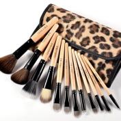 Fraulein38 12 Pcs Portable Wooden Handle Makeup Brushes Set w/Leopard Case New