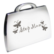 Silver Finish Step Mum Handbag Compact Mirror with Butterfly Motif Great Gift Idea for Mummy Birthday Christmas Mothers Day