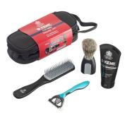Kent Shaving Brush with Hairbrush and Razor Travel Kit