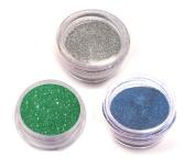 Moyou Nail Art acrylic nails Glitter Powder 3 colours bundle- Silver+Green+Blue