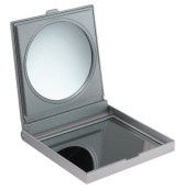 Silver Bathroom/Travel Mirror With True Image & 3 x Magnification - perfect for travelling
