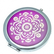 ASTRID 70mm Silver Amethyst & Gold Compact Mirror