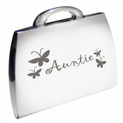 Silver Finish Engraved Auntie Handbag Compact Mirror with Butterflies Great Gifts Idea for Birthday Gift Christmas Presents