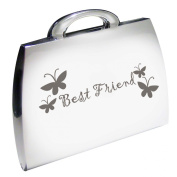 Silver Finish Engraved Best Friend Handbag Shape Compact Mirror with Butterflies Great Gifts Idea for Birthday Gift Christmas Friends Presents