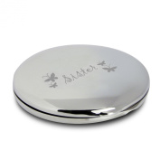 Silver Finish Engraved Sister Round Compact Mirror with Butterflies Great Gifts Idea for Birthday Gift Christmas Presents