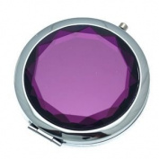CASSANDRA 70mm Silver Amethyst Faceted Crystal Compact Mirror