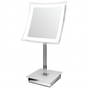 LED Illuminated Table 30cm Mirror - 5x Magnified - Dimmable - Battery Operated