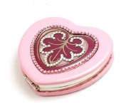 JIMMY CRYSTAL Pink Heart Shaped Compact Mirror With. Crystals and Presentation Pouch and Case