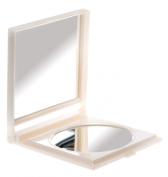 Danielle 17 x 14cm Folding Travel Mirror x 6 Magnified Pearl White