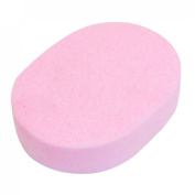 Ladies Pink Oval Shape Washable Bath Body Facial Cleaning Washing Sponge Pad
