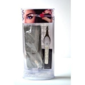 "Trend Tweezers Stainless Steel G3 LED Lighted Precision Tweezers ""White"" with. Crystal + Travel Bag + Aviva Eco Nail FileS"