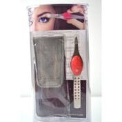 "Trend Tweezers Stainless Steel G3 LED Lighted Precision Tweezers ""Pink"" with. Crystal + Travel Bag + Aviva Eco Nail FileS"