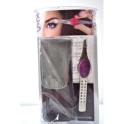 "Trend Tweeze Stainless Steel G3 LED Lighted Precision Tweezers ""Purple"" with. Crystal + Travel Bag + Aviva Eco Nail FileS"
