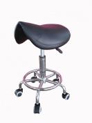 CHROME Gas Lift SADDLE STOOL for Salon Spa Massage Beauty Reiki Therapy Tattoo Black