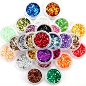 30 Metal Colour Shiny Glitter Powder Dust Nail Art Tool Kit Acrylic UV