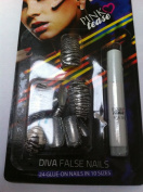Pink Tease Diva Glue On - Silver Stripe