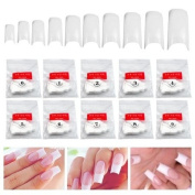 GadgetpoolUK 500 White False Fake Nail Art Tips French Acrylic - 10 different nail sizes