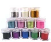 12x Fine Glitter Powders for Nail Art (10g Jar) CODE