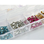 3000 Nail Art Gems Mixed Colours Shapes in Case