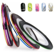 WorldTree Nail Art Striping Tape Line Decoration pack of 10 rolls