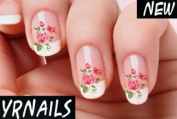 Pink English Rose Nail Decals by YRNails