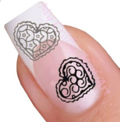 Black and Silver Heart Nail Art Decal / Tattoo / Sticker