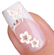Butterfly and Flower Adhesive Nail Stickers Art