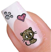 Gold and Silver Glitter Cat Nail Art Decal / Tattoo / Sticker