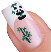 Panda Bear and Green Tree Adhesive Nail Stickers Art