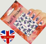Purple Flower and Butterfly Nail Art Decal / Tattoo / Sticker