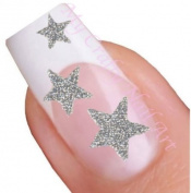Silver Glitter Star Adhesive Nail Stickers Art