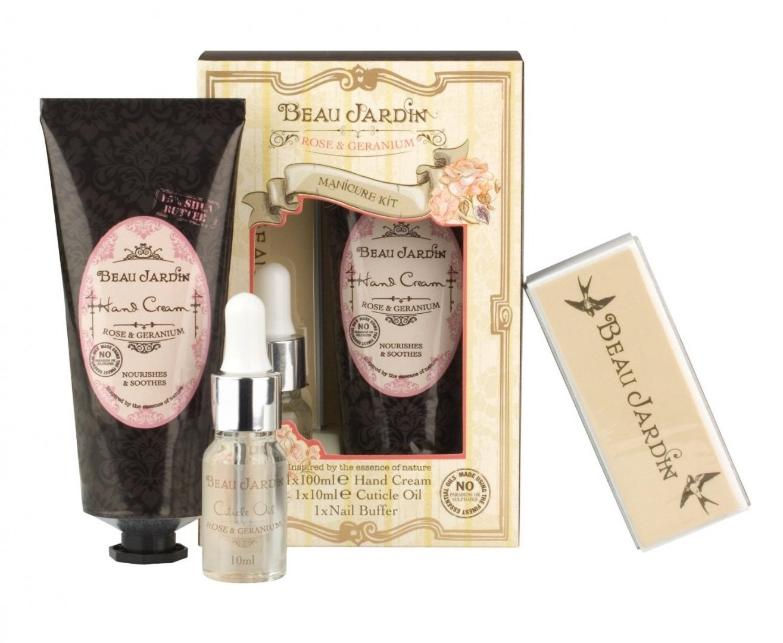 Beau Jardin Rose & Geranium Manicure Kit - Hand Cream, Cuticle Oil ...