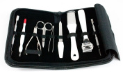 Professional Manicure & Pedicure 10 Piece Stainless Steel Leather Black Case