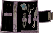 Ringlock Stainless Steel 6 Piece Manicure Set in . Lilac Leather Case