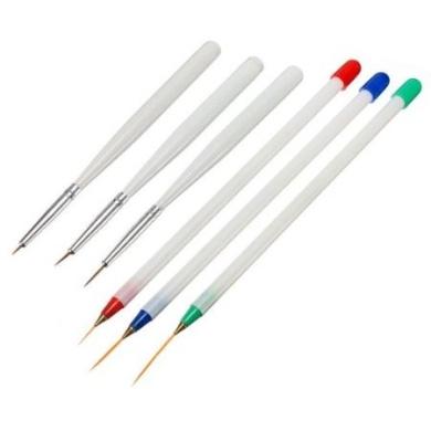 6pcs Acrylic French Nail Art Striping Pens Brushes Painting Drawing Liner Tools