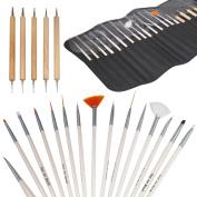 TRIXES Pro 20pc Nail Art Design Painting Detailing Brushes & Dotting Bundle Kit