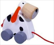 WOODEN PULL ALONG CHILDS BRIGHT TOY SPOTTY DOG