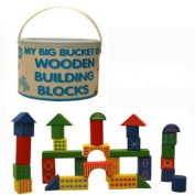 Colourful Big Bucket of wooden building blocks