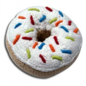 Pebble hand knitted donut rattle - white icing with multi coloured sprinkles